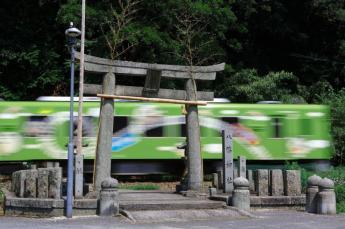 在神社内行走的电车